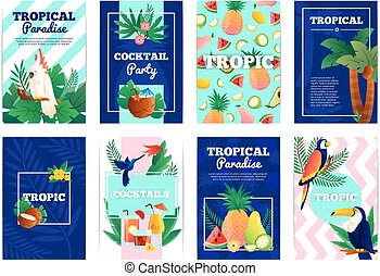 tropical, tarjetas, banderas, conjunto