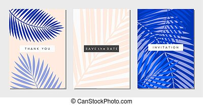tropical, tarjetas, conjunto, follaje