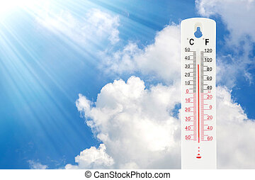 Tropical temperature of 34 degrees Celsius, measured on an outdoor thermometer.