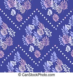 Tropical tender image for bed linen. Seamless floral pattern with exotic leaves for wrapping paper, fabric, cloth. Vector illustration