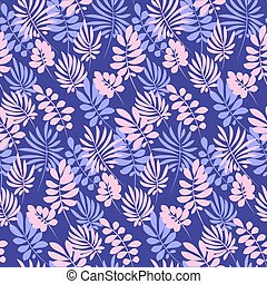 Tropical tender image for bed linen. Seamless floral pattern...