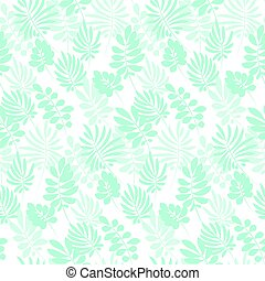 Tropical tender image on white background for bed linen. Seamless floral pattern with exotic leaves for wrapping paper, fabric, cloth. Vector illustration