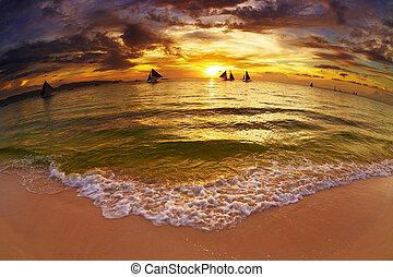 tropical tengerpart, -ban, napnyugta