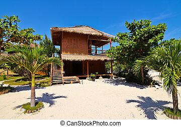 tropical tengerpart, bungaló, képben látható, óceán, tengerpart