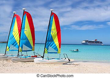 tropical tengerpart, csónakázik, és, hajó