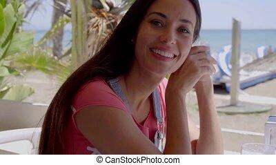 tropical tengerpart, nő, imádnivaló, fiatal