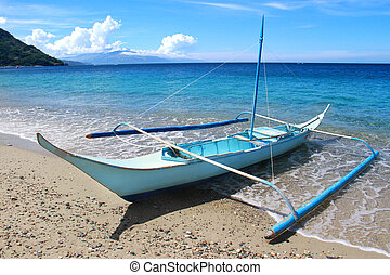 tropical tengerpart, noha, hagyományos, fülöp-szigetek, csónakázik
