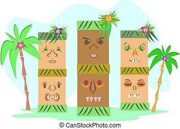 tropical, tiki, tótemes, tres