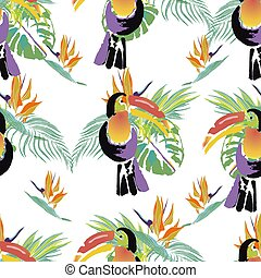 Tropical Toucan bird. Wild exotic animal. Seamless pattern....