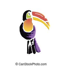 Tropical Toucan bird. Wild exotic animal. Vector...