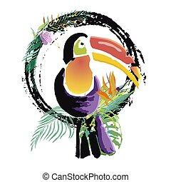 Tropical Toucan bird. Wild exotic animal. Vector...