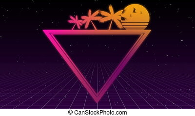 Tropical tree and sunset on triangle - Digitally generated...