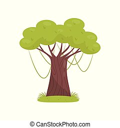 Tropical tree, element of jungle forest landscape vector Illustration on a white background.