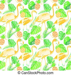 Tropical trendy seamless pattern with flamingos, pineapples and palm leaves