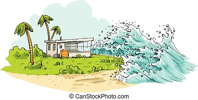 Tropical Tsunami - Cartoon of a relaxing tropical vacation...