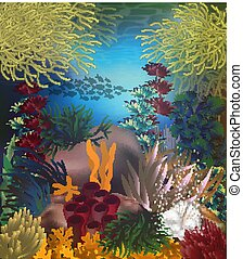 Tropical underwater background with pearls , vector illustration