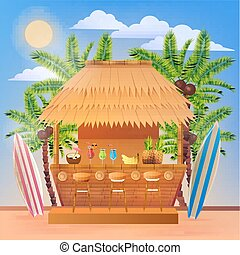 Tropical Vacation Banner with Beach Bar and Palm Trees....