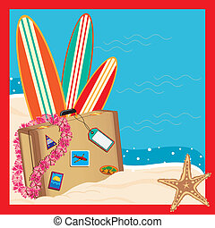 Tropical Vacation Invitation - Luggage arrives on the beach...