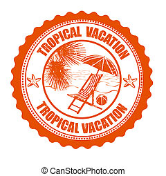 Tropical vacation stamp