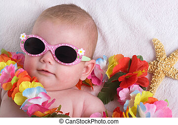 Tropical Vacation - Beautiful baby girl with lei, sun...