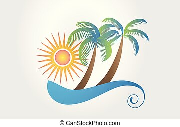 Tropical vacations logo - Summer theme icon with waves, ...