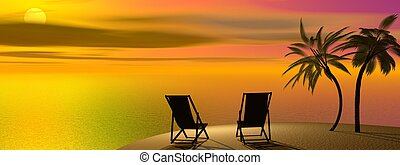 Tropical vacations - Two chairs and palm trees on the sand...