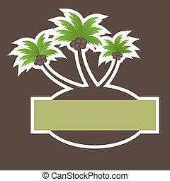 tropical, vector, playa, banner.