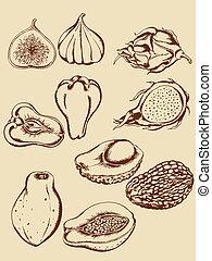tropical, vendimia, fruits