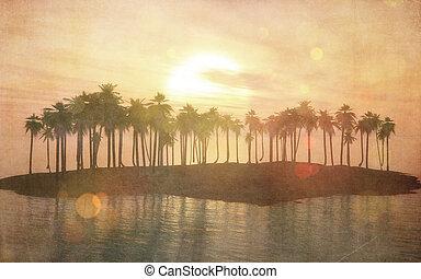 tropical, vendimia, imagen, 3d, isla