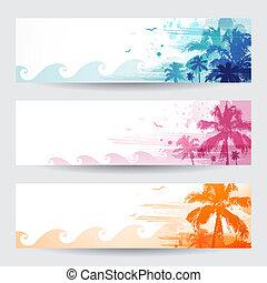 tropical, verano, banderas