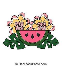 tropical, verano, hojas, flor, sandía