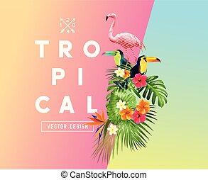 tropical, verano, ilustración, themed