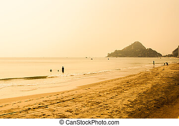 tropical, verano, playa, ocaso