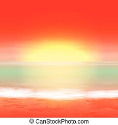 tropical, verano, sunset., mar, fondo.