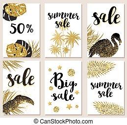 tropical, verano, tarjetas, resplandor