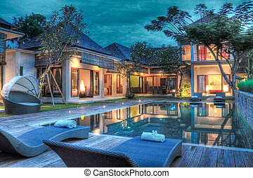 Outside view of a tropical luxury villa in Bali