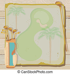 Tropical Vintage Golf Invitation - Tropical golf party or...