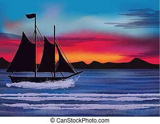 Tropical wallpaper with sailing vessel, sea and mountains , vector illustration