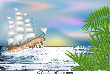 Tropical wallpaper with sailing vessel , vector illustration