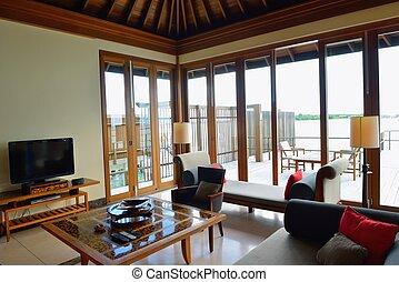 tropical water home villas resort on Maldives island at...