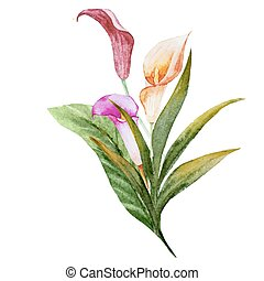 Tropical watercolor flowers - Beautiful vector image with...