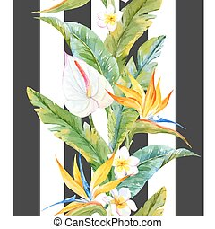 Beautiful pattern with watercolor tropical leaves and flowers