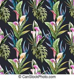 Tropical watercolor seamless pattern - Beautiful vector...
