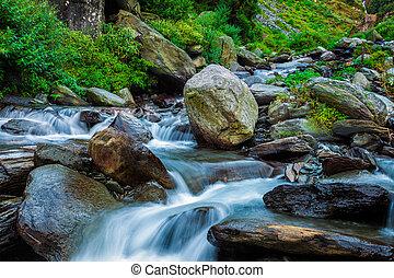 Tropical waterfall. Bhagsu, Himachal Pradesh, India