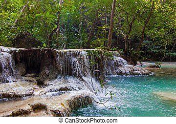 Tropical waterfall.  Deep forest Waterfall.  waterfall in the forest