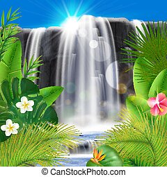 Tropical Waterfall Realistic Background