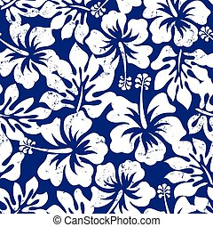 Tropical weathered hibiscus seamless pattern