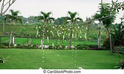 Tropical wedding ceremony decoration outdoors
