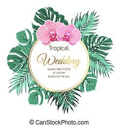Tropical wedding invitation orchid jungle greenery