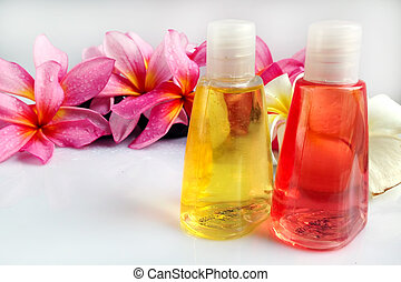 Tropical wellness spa & aromatherapy concept with plumeria flower